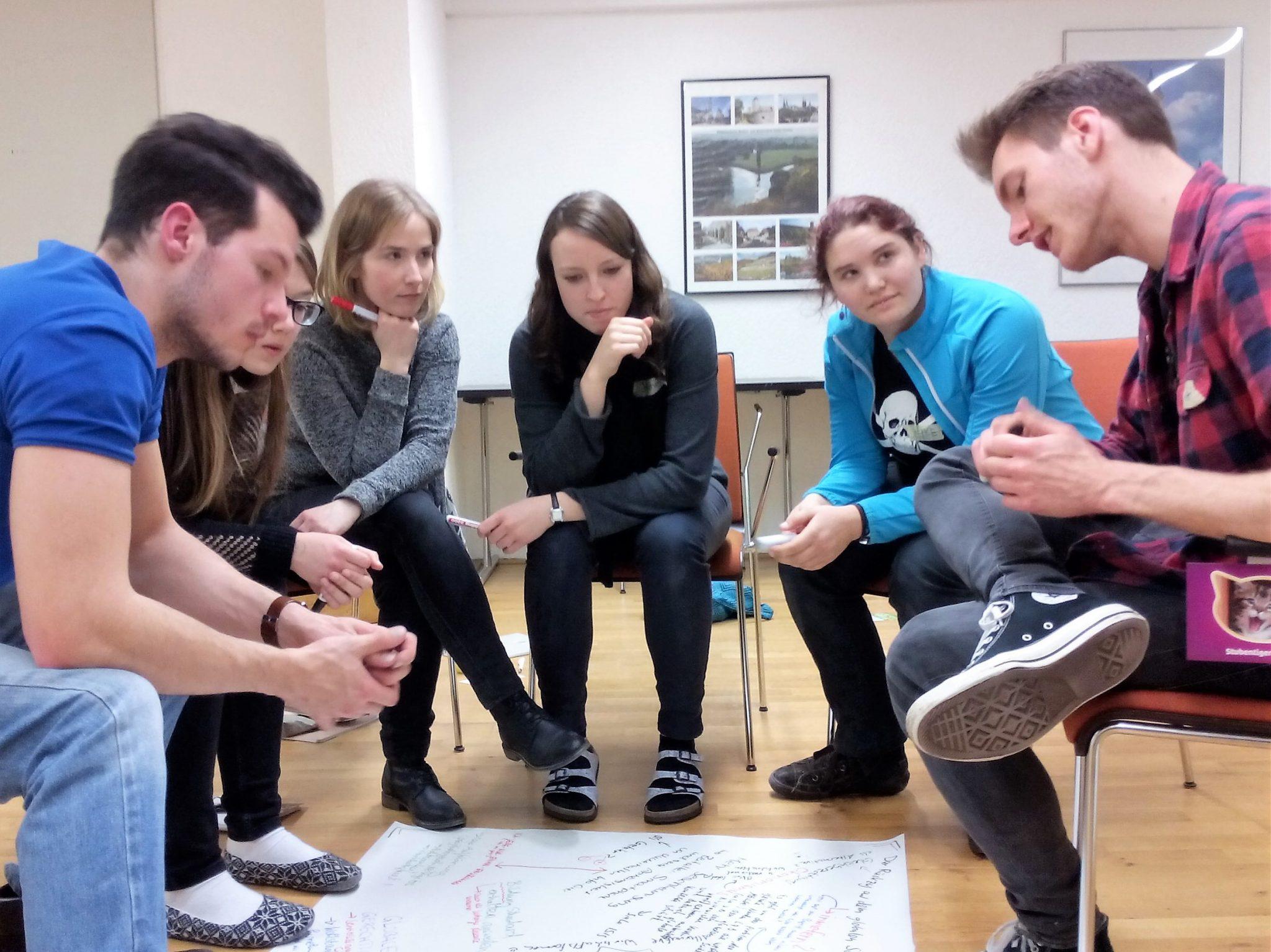 Studierende brainstormen wie ihr Green Office aussehen könnte