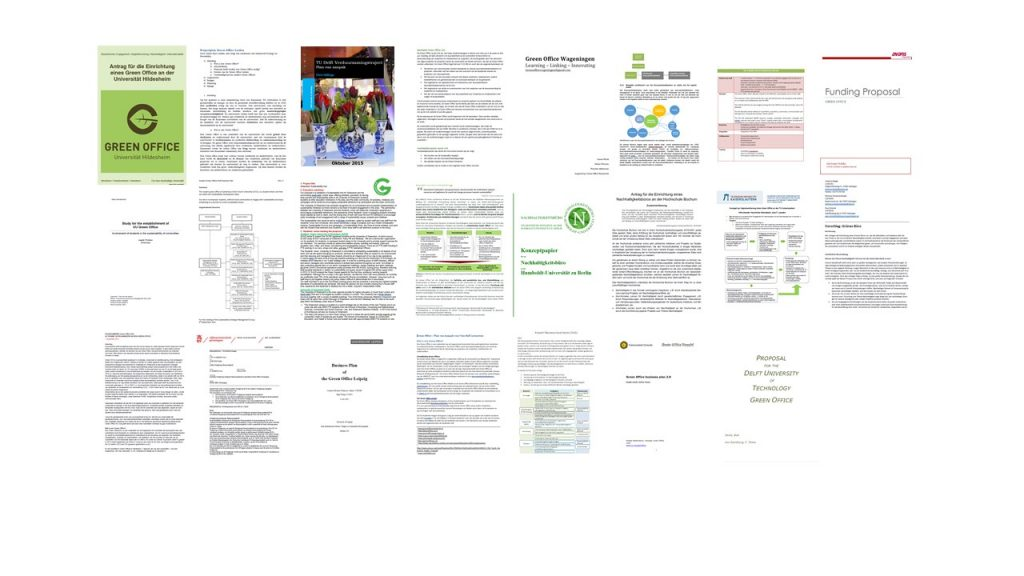 Eine Collage von Green Office Anträgen. Wann kommt eurer dazu?